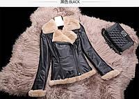 Кожаная короткая меховая куртка 2 цвета