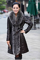 Женское кожаное пальто-плащ с мехом