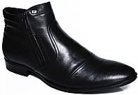 """Мужские зимние ботинки """"Faro"""". Натуральный мех(Цигейка). Черные"""