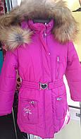 Куртка зимняя польская для девочек цвета фуксии с искусственным мехом