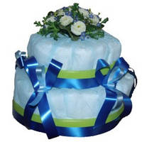 Торт большой из памперсов «Цветы»