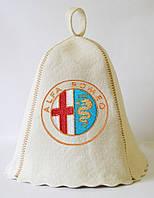 Шапка для бани и сауны с вышивкой 100% шерсть Alfa Romeo