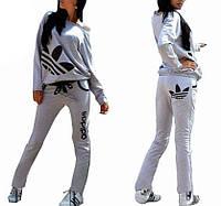 Стильный спортивный костюм Адидас, цвет серый