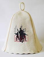 Шапка для бани и сауны с вышивкой 100% шерсть Мафия