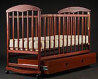 Кроватка детская Наталка с ящиком  ясень светлый, тёмный