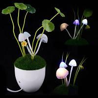 Ночник светильник Аватар Грибная поляна в керамическом горшке светодиодный