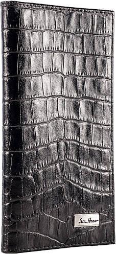 Вертикальное портмоне, мужское, кожаное ISSA HARA WB2 (21-00) черное