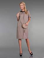 ODDI 9826 : Платье из тонкого вискозного габардина бежевого цвета (42-50 размеры)