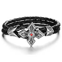"""Кожаный браслет """"Династия"""" со стальными вставками, в наличии 20,5 и 21,5"""
