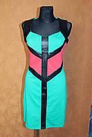 Платье трикотажное с кожаными вставками, размер 44