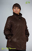 Дубленка женская укороченная с вставками из натурального меха норки на воротнике и манжетах