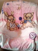 Детский флисовый плед Мишка и зайчик на розовом