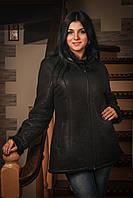Дубленка женская укороченная с вставками из искусственной норки на воротнике и манжетах