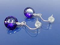 """Серьги """"Арза"""" с родиевым покрытием и кристаллами Swarovski (синие)."""