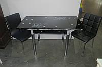 Стол ТВ-21 черный+хром.ножки, стеклянный, раскладной Киев