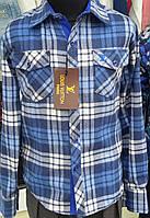 Рубашка байковая для мальчиков в голубую клетку