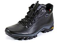 Мужские черные кожаные зимние ботинки мех, фото 1