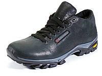 Кожаные мужские черные ботинки на меху шнурок Columbia, фото 1