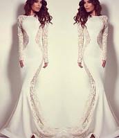 Длинное белое платье рыбка