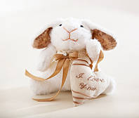 Мягкая игрушка авторской ручной работы кролик банни белый с сердцем