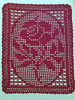 Салфетка скатерть(картина) 25X31 cm, Красная роза, вязаная крючком, ручная работа, подарок женщине на 8 марта