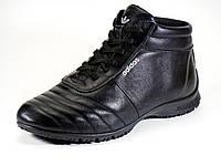 Зимние ботинки кожаные мужские на меху черные шнурок, фото 1