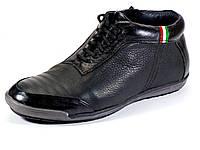 Зимние ботинки мужские на меху низкие черные молния, фото 1