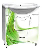 Мебель для ванной комнаты с рисунком №4 зеленый