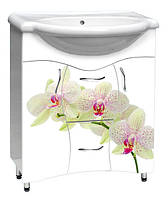 Мебель для ванной комнаты с рисунком №8 орхидея белая