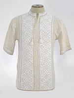 Светлая вязаная вышиванка с коротким рукавом | Світла в'язана вишиванка з коротким рукавом