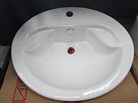 Умывальник керамический овальный белый с мыльницей