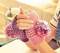 Женские зимние вязанные теплые варежки перчатки рукавицы рукавички без пальцев
