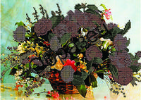 """Схема для вышивки бисером """"Цветы в корзине"""""""