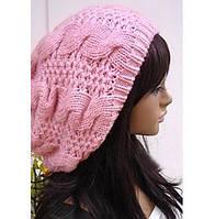Женская зимняя теплая шапка берет вязанный цветная яркая модная стильная