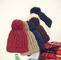 Женская мужская зимняя теплая шапка унисекс цветная яркая модная стильная вязанная
