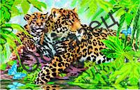 """Схема для вышивки бисером """"Леопард и малыш"""""""