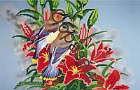 """Схема для вышивки бисером """"Птички в красных цветах"""""""
