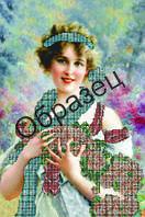 Схема для вышивки бисером «Дама голубой шарф»
