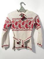 Вязаная вышиванка Калина для девочки | В'язана вишиванка Калина для дівчинки