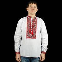 Сорочка вишиванка для мужчин с красным орнаментом