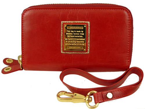 Кожаная, женская ключница-кошелек WANLIMA (ВАНЛИМА) W82090230117-red