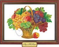 Схема для вышивки бисером «Виноград и яблоки в корзине»