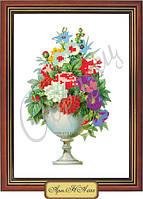Схема для вышивки бисером «Соцветие цветов в белой вазе»