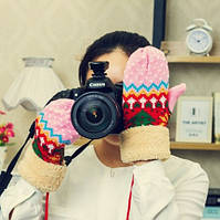 Женские зимние шерстяные вязанные теплые варежки перчатки рукавицы рукавички