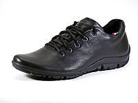 Мужские черные кожаные зимние ботинки мех шнурок, фото 1