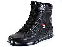Высокие мужские ботинки зимние на меху черные кожаные молния, фото 1