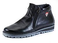 Зимние ботинки черные кожаные мужские на меху молния, фото 1