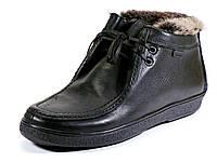 Мужские кожаные зимние ботинки отделка мех черные, фото 1