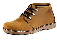 Мужские кожаные ботинки шнуровка зима на меху коричневые, фото 1