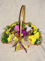 """Новогодний букет из конфет.Желто-фиолетовые крокусы""""Новогодний серпантин""""№9+8"""